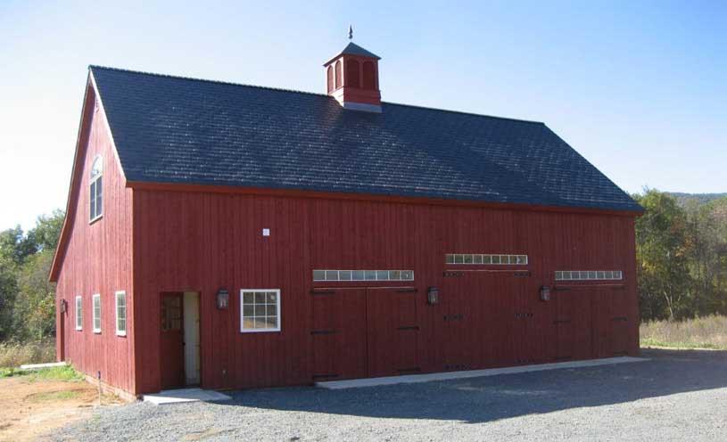 sharp red barn
