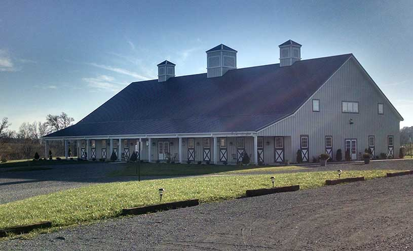 large barn with stables