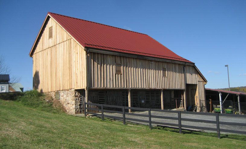 natural siding red roof